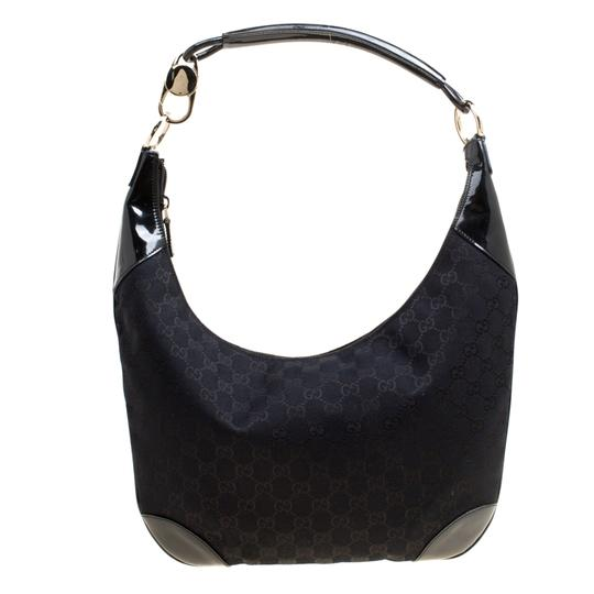 84802caf9630 Gucci And Patent Leather Black Canvas Hobo Bag - Tradesy