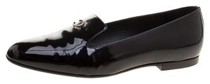 Chanel Patent Leather Slippers Black Flats