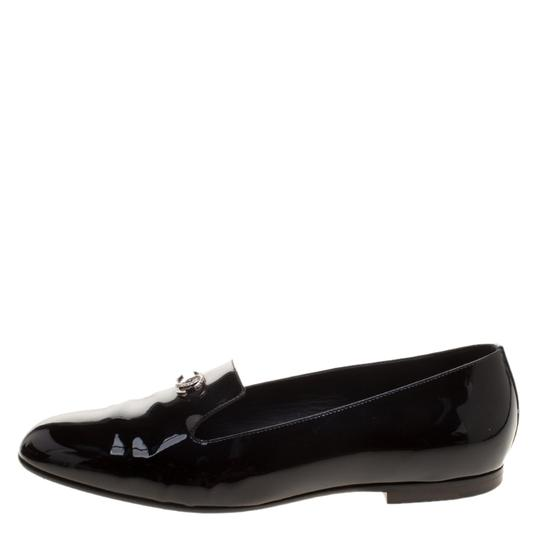 Chanel Patent Leather Slippers Black Flats Image 1