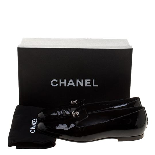 Chanel Patent Leather Slippers Black Flats Image 7