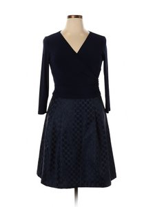 American Living short dress Navy Blue Modal Satin Polka Dot A-line on Tradesy