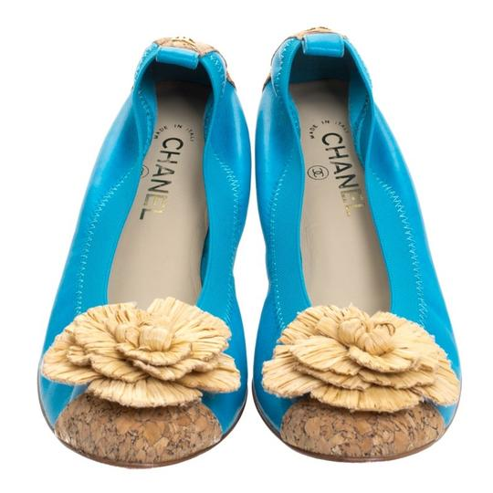 Chanel Leather Ballet Blue Flats Image 2
