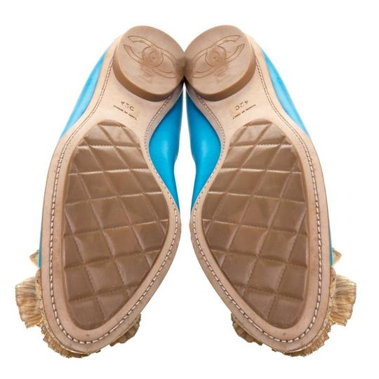 Chanel Leather Ballet Blue Flats Image 5