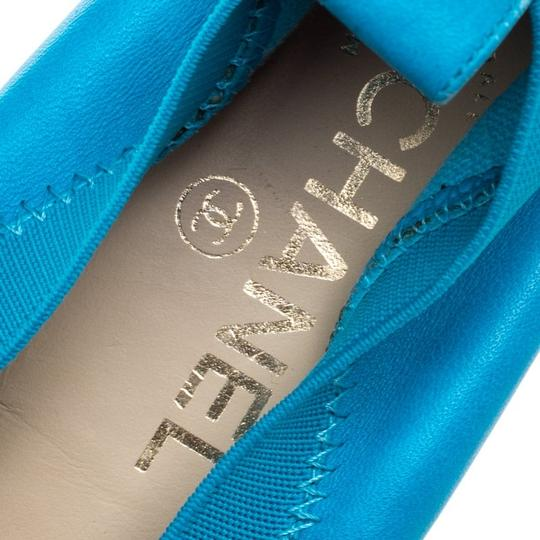 Chanel Leather Ballet Blue Flats Image 6