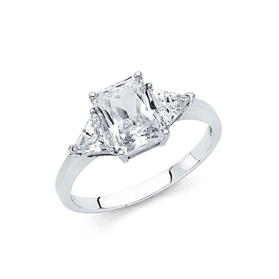 ccdd437729c White 1.25ct 3-stone Radiant Triangle-cut Basket Set Cz Engagement Ring 52%  off retail