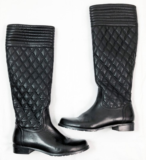 Stuart Weitzman Quilted Leather Knee High BLACK Boots Image 1