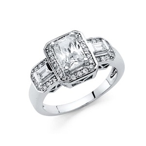Top Gold & Diamond Jewelry 1.25CT 3-Stone Round-Cut & Pave CZ Engagement Ring in 14K White Gold