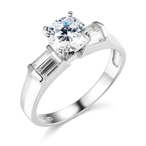 Top Gold & Diamond Jewelry 1.25CT Knife-Edge 4-Prong Round-Cut with Bar Side Baguette CZ Ring