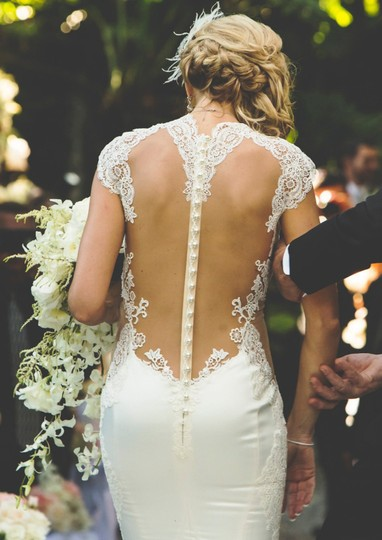 Galia Lahav Ivory Couture Dolce #1431 Illusion Lace Gown Sexy Wedding Dress Size 4 (S) Image 1