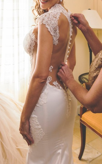 Galia Lahav Ivory Couture Dolce #1431 Illusion Lace Gown Sexy Wedding Dress Size 4 (S) Image 3