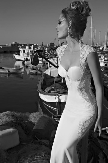 Galia Lahav Ivory Couture Dolce #1431 Illusion Lace Gown Sexy Wedding Dress Size 4 (S) Image 6