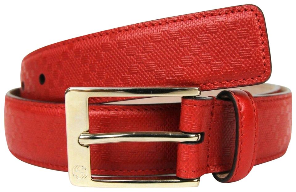 0e904fa52 Gucci Diamante Leather Belt with Square Buckle Red 105/42 345658 6523 Image  0 ...
