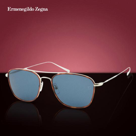 Ermenegildo Zegna New Ez0052 14v Shiny Light Titanium Rectangular Sunglasses 53mm Image 1