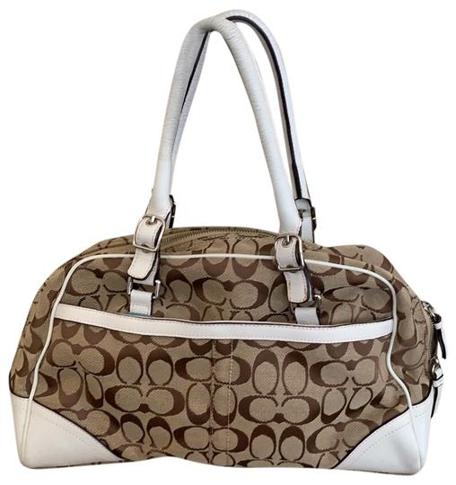 Preload https://img-static.tradesy.com/item/25096795/coach-white-and-tan-leather-canvas-satchel-0-1-540-540.jpg