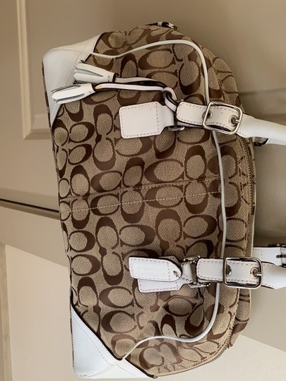 Coach Satchel in White and Tan Image 3