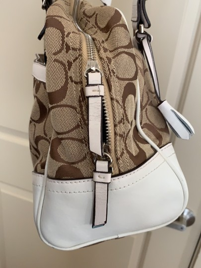 Coach Satchel in White and Tan Image 5