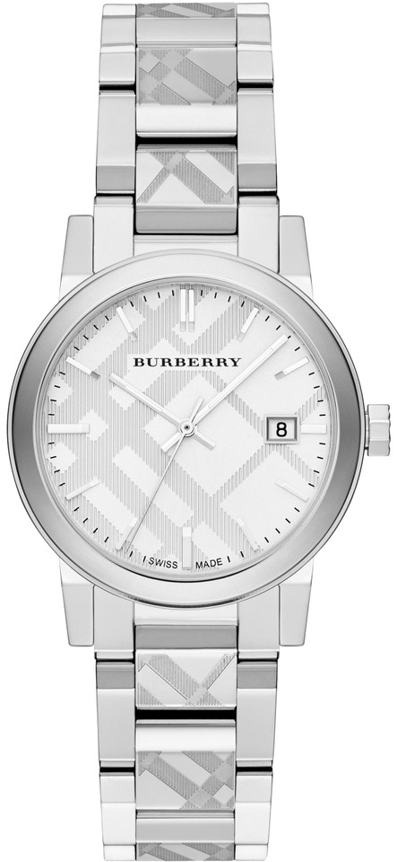 fef4a2fc9f4e Burberry BU9144 Silver Check Stamped Dial 34mm Ladies Swiss Made Quartz  Image 0 ...