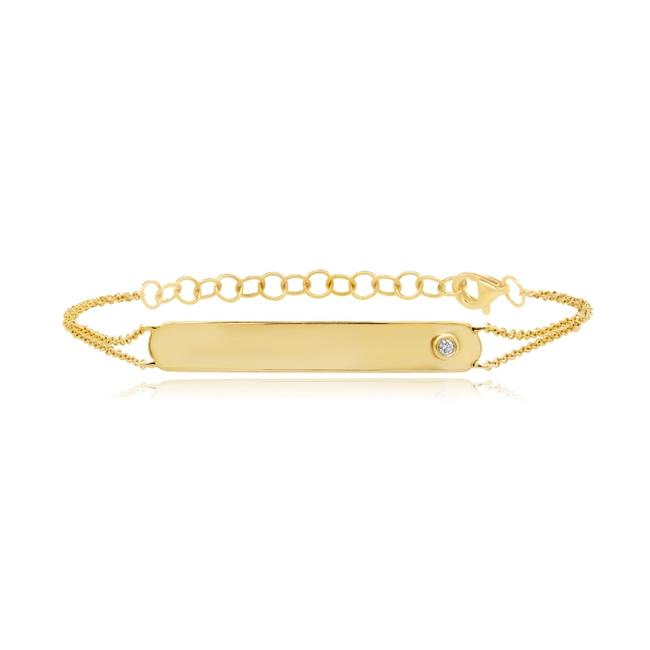 Item - 14k Yellow Gold Diamond Plate with Round Cut 0.02ct Bracelet