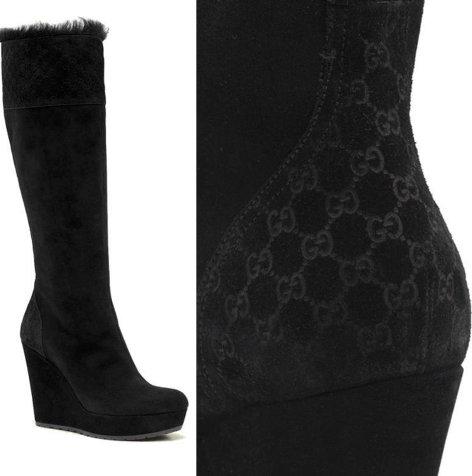 a10a2783773 Gucci Black Courteney Fur Suede Wedge Boots Booties Size EU 38 ...