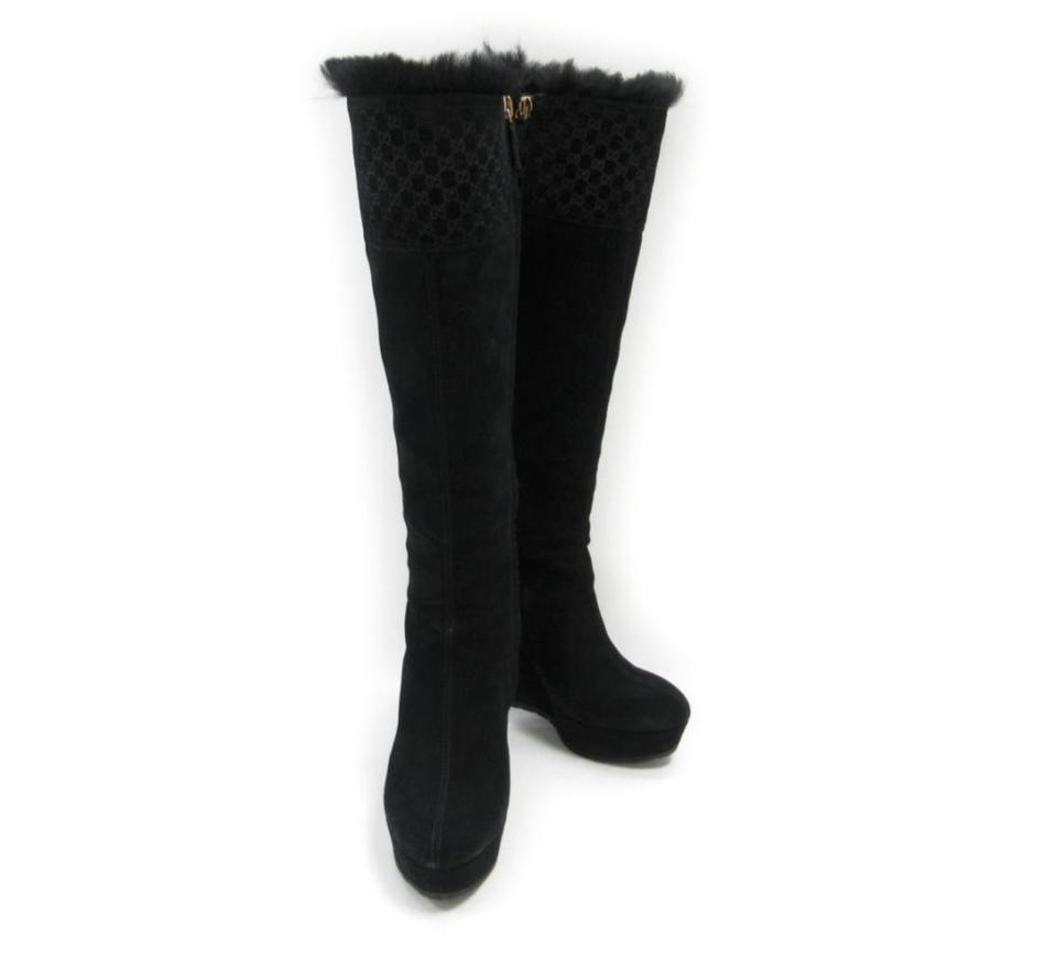 ead34ab911f Gucci Black Courteney Fur Suede Wedge Boots Booties. Size  EU 38 ...