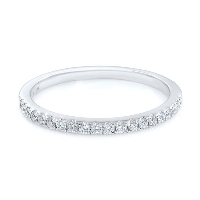 Item - White Gold Pave Diamond Stackable Delicate Ring 0.18cts Women's Wedding Band
