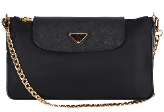 34c860321cf4 Prada New Bandoliera Chain Purse Black Nylon and Leather Cross Body Bag