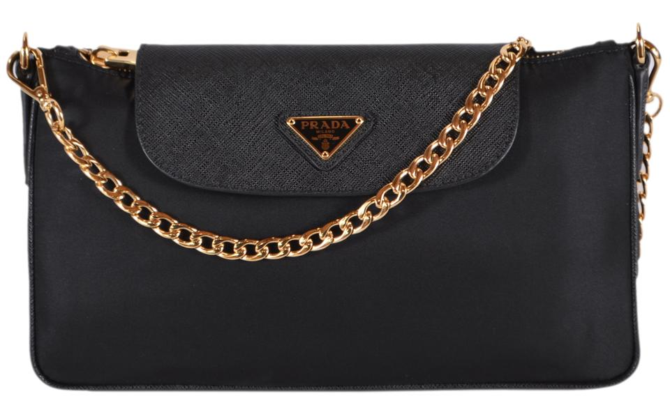 8a397ffabcce Prada New Bandoliera Chain Purse Black Nylon and Leather Cross Body Bag -  Tradesy