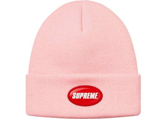Supreme BRAND NEW MEN'S SUPREME LOGO RED RUBBER PATCH PINK BEANIE HAT CAP SS18 Image 1