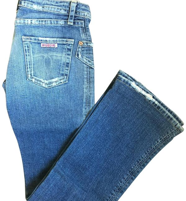 Item - Blue Distressed 185sd Stretch Boot Cut Jeans Size 6 (S, 28)