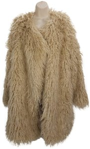 Free People Faux Open Front Vintage Fur Coat