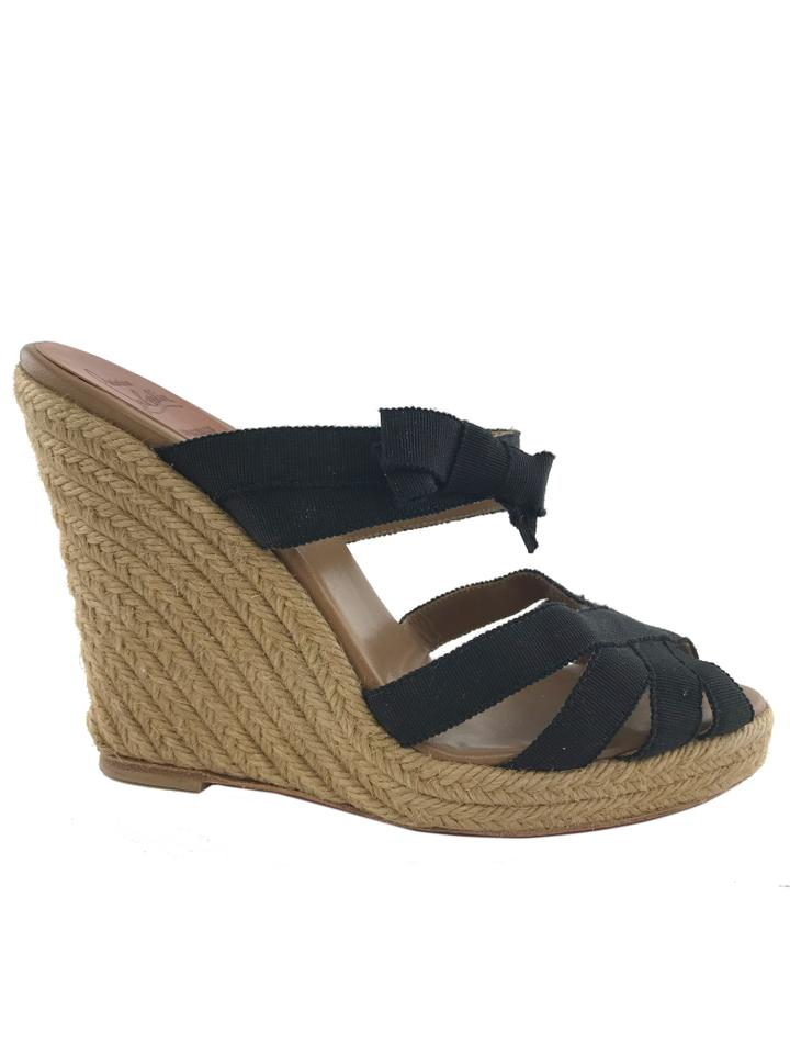 f39675a0e0f7 Christian Louboutin Black Delfin Canvas Espadrille Wedges Size EU 39  (Approx. US 9) Regular (M