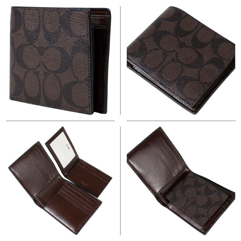 28a119e2c329 Coach Mahogany Black F74993 Men's Signature Pvc with Id Msrp Redy To Wallet