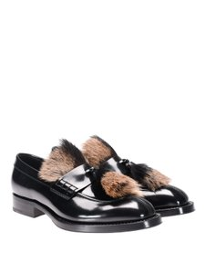 Prada Black Mens Brushed Leather Penny Fur Tassels Loafers 8 Us 9 Italy Shoes