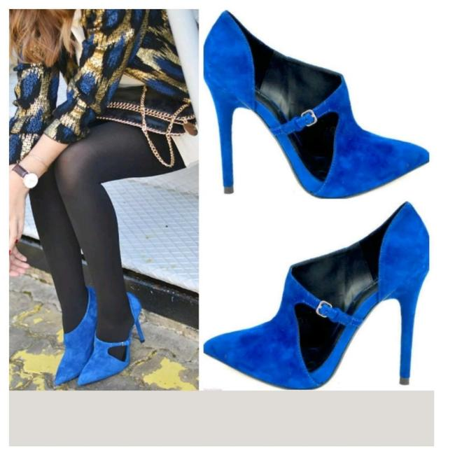 Item - Blue High Heel Lace Boots/Booties Size US 6.5 Regular (M, B)