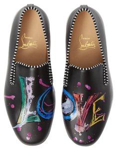 Christian Louboutin Sneaker Slip On Leather Multi Color Made In Italy Black Athletic