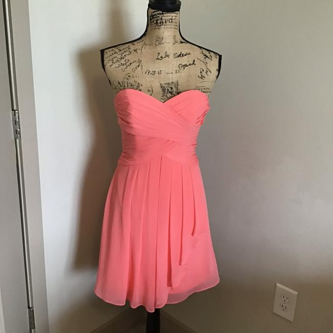 Item - Coral Polyester F14847 Traditional Bridesmaid/Mob Dress Size 2 (XS)