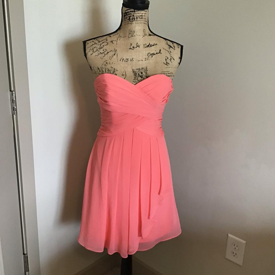 85f8ee51a579 David's Bridal Coral Polyester F14847 Traditional Bridesmaid/Mob Dress Size  2 (XS) Image ...