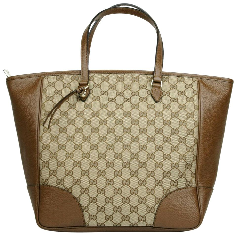 56118037d Gucci Bag Bree W Beige/Ebony W/Charm 449242 8610 Beige/Ebony Gg Canvas  Leather Tote
