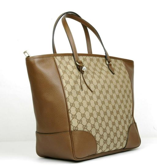 ad6d32d65 ... Gucci Bree Beige/Ebony Gg Canvas Leather Tote in Beige/Ebony Image 1