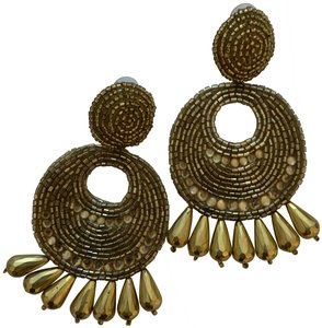 Kenneth Jay Lane Gold Seed Bead Round Gypsy Hoop With Drops Pierced Or Clip Earrings