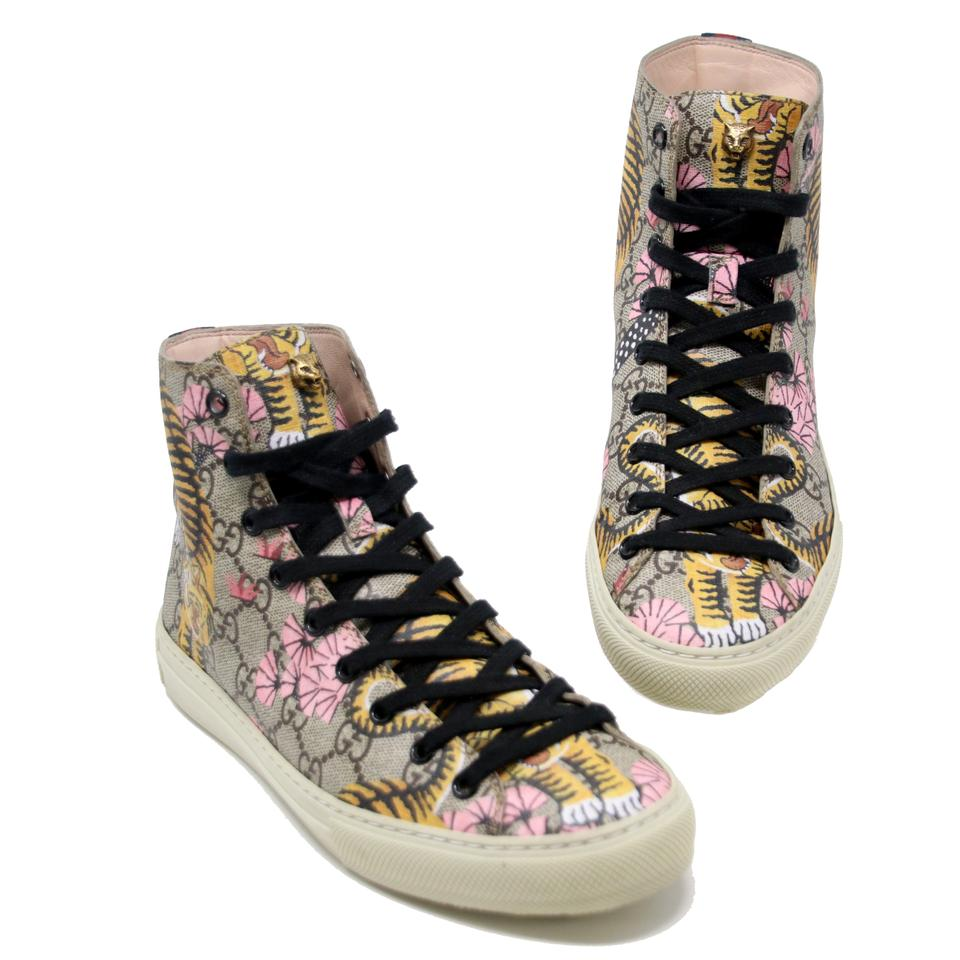 a32c1fc92 Gucci Brown W Rare Hi Top Bengal Gg Monogram Pearl W/ Spikes Tiger 37  Sneakers