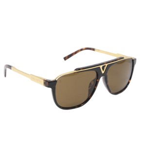 61873f030097 Louis Vuitton LV Mascot Aviator Gold Tone Acetate Men s Sunglasses Z0938E