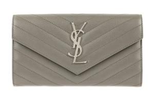Saint Laurent YSL Leather Large Flap Continental Wallet