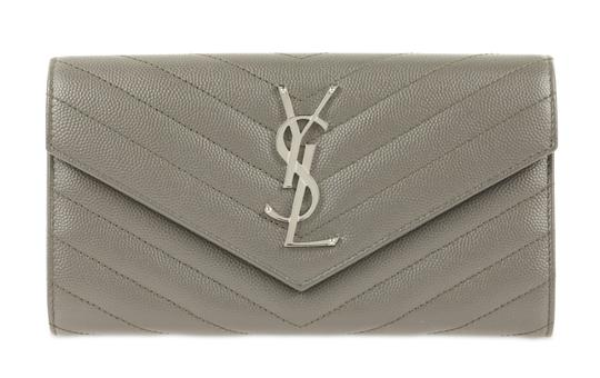 Preload https://img-static.tradesy.com/item/25099196/saint-laurent-gray-ysl-leather-large-flap-continental-wallet-0-3-540-540.jpg