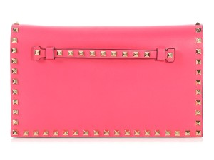 Valentino Vl.q0125.12 Studded Gold Hardware Reduced Price Pink Clutch