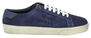 Saint Laurent Textured Round Toe Lace Up Low Top Branded Sides Blue Sandals