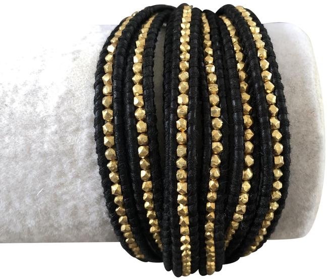 Item - Black/Gold Nugget Multi Strand Single Wrap Leather Bracelet