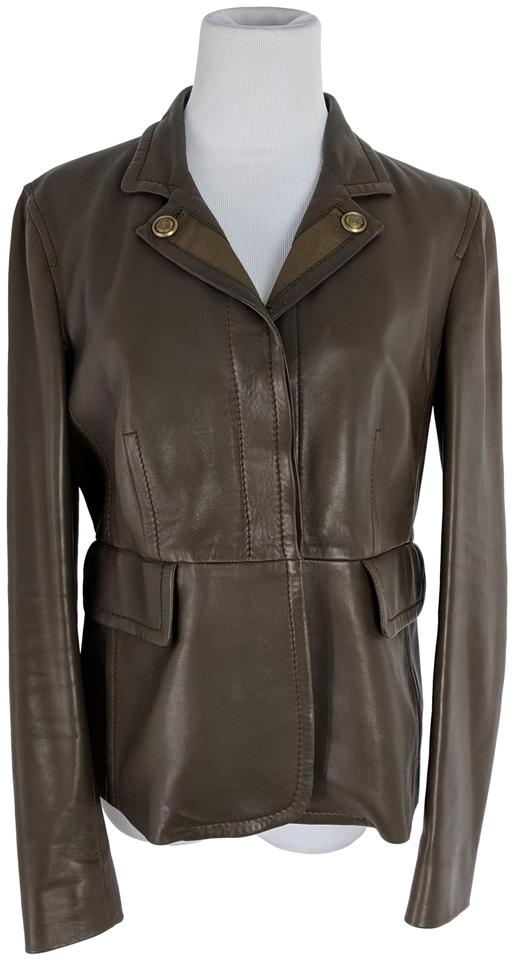 9991a776 Gucci Brown Leather Military Style Jacket Size 8 (M) - Tradesy