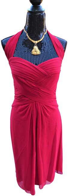 Item - Red Chiffon Halter Mid-length Night Out Dress Size 8 (M)