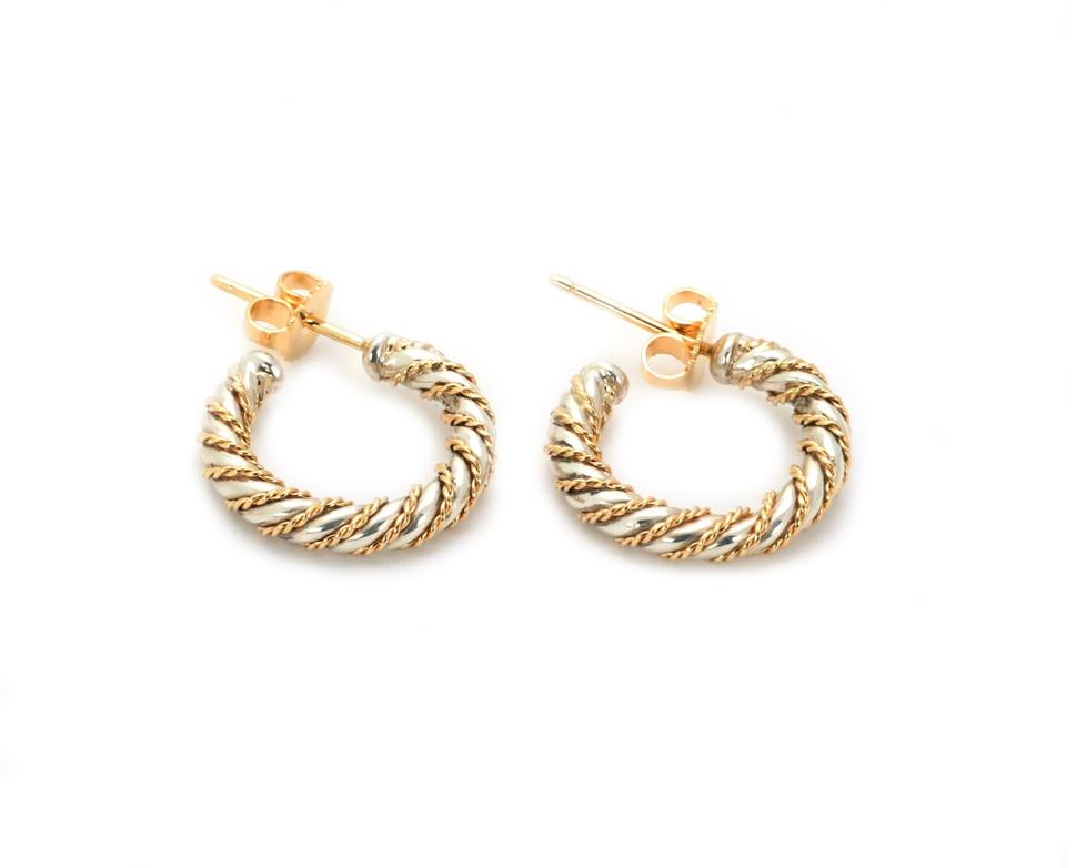 337506d62 Wire Wrap Sterling Silver & 18k Gold Small Hoop Earrings Image 4. 12345